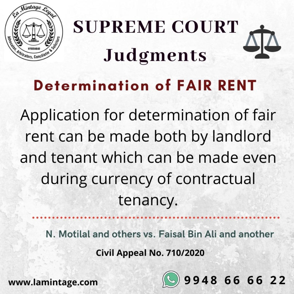 Supreme Court judgement in the matter of N Motilal and others Vs. Faisal Bin Ali and another on determination of fair rent